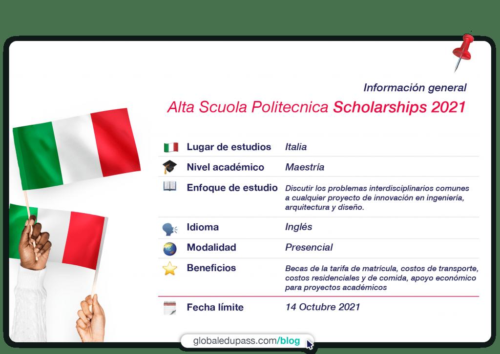 becas en Italia para estudiar en la Alta Scoula Politecnica